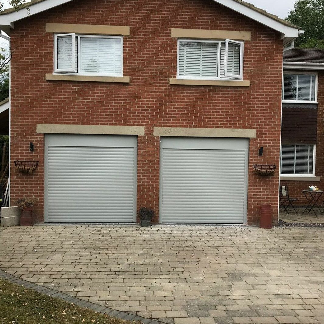Light grey roller shutters